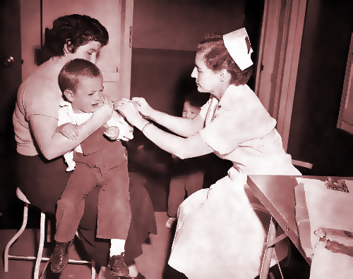 Lazy nurse giving totally unnecessary smallpox vaccination just to kill some time at her makework job.