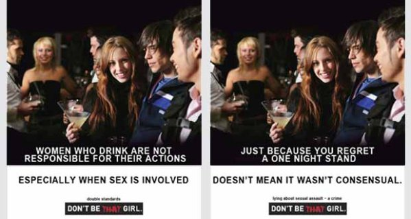 Two of the Don't Be that Girl posters