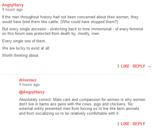 AngryHarry 10 hours ago  If the men throughout history had not been concerned about their women, they would have bred them like cattle, (Who could have stopped them?)  But every single ancestor - stretching back to time immemorial - of every feminist on this forum was protected from death by, mostly, men.    Every single one of them.  We are lucky to exist at all.  Worth thinking about. FlagShare 3LikeReply driversuz 9 hours ago  @AngryHarry   Absolutely correct. Male care and compassion for women is why women don't live in barns ans pens with the cows, pigs and chickens. No external entity prevented men from forcing us to live like farm animals and from socializing us to be relatively comfortable with it.