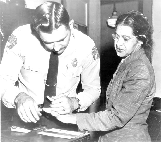 Rosa Parks, being fingerprinted after refusing to give up her bus seat to a white man, Montgomery, Alabama, 1955. I assume even Warrenn Farrell has heard of her.