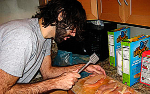 Roosh bangs on some chicken. At least his beard is trimmed.