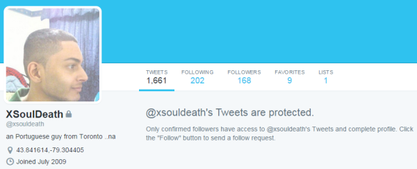 Screenshot of what appears to be xsouldeath's Twitter account