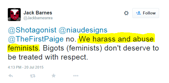 """Jack Barnes, """"who describes himself as a """"Proud MRA, Proud Anti-Feminist, GamerGate Supporter, Contributor to http://www.avoiceformen.com."""""""